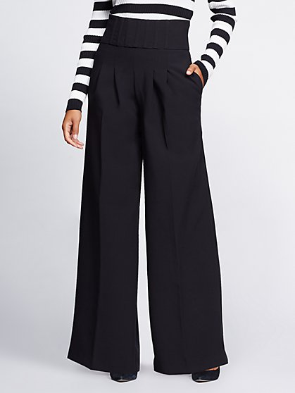 Gabrielle Union Collection - Tall Black Corset Palazzo Pant - New York & Company