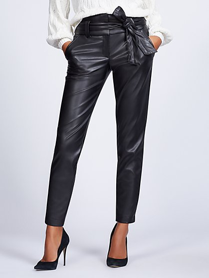 Gabrielle Union Collection - Tall Black Faux-Leather Jogger Pant - New York & Company