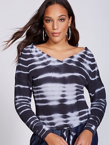 Gabrielle Union Collection - Tie-Dye V-Neck Sweater - New York & Company