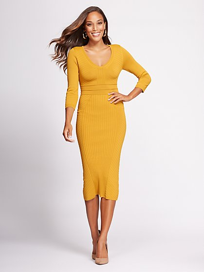 Gabrielle Union Collection - V-Neck Sweater Dress - New York & Company