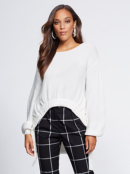 Gabrielle Union Collection - White Hi-Lo Sweater - New York & Company