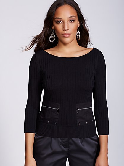 Gabrielle Union Collection - Zip-Accent Pocket Sweater - New York & Company