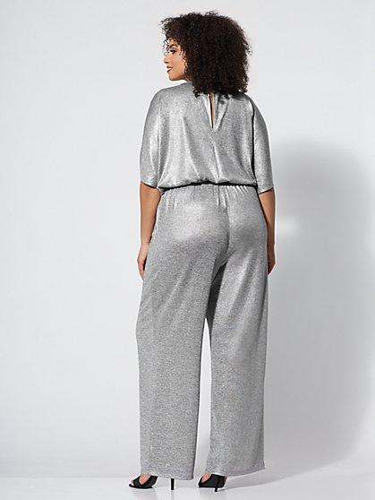 88d6828ba11 ... Gabrielle Union Plus Collection - Silvertone Metallic-Foil Jumpsuit -  New York   Company