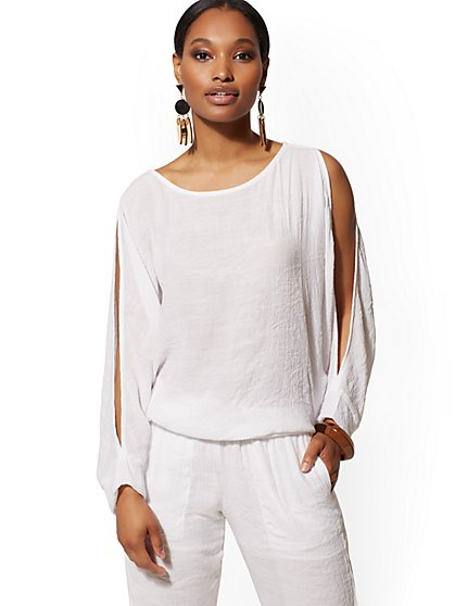Gauze Slit-Sleeve Dolman Top - New York & Company