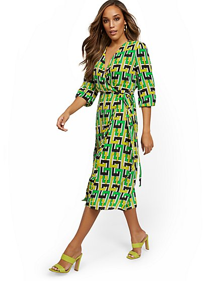 Geo-Chain Wrap Midi Dress - New York & Company