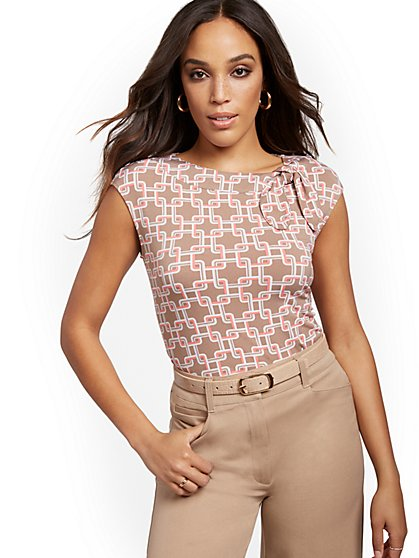 Geo-Print Bow-Accent Top - 7th Avenue - New York & Company