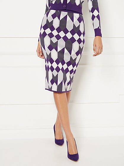 Geo-Print Kelli Sweater Skirt - Eva Mendes Collection - New York & Company
