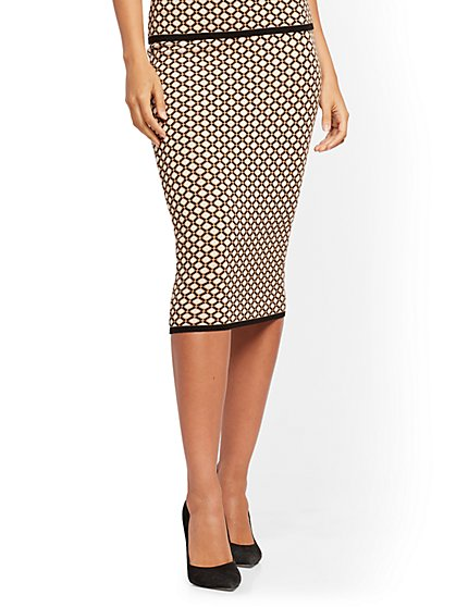 Geo-Print Sweater Skirt - 7th Avenue - New York & Company