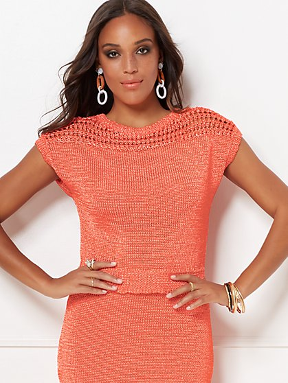 Gina Crochet Sweater Top - Eva Mendes Collection - New York & Company