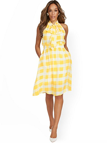 Gingham Bow-Neck Halter Dress - New York & Company