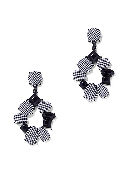 Gingham Round Drop Earring - New York & Company