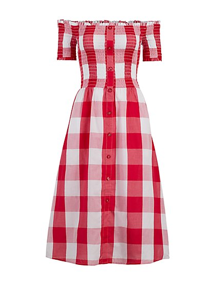 Gingham Smocked Off The Shoulder Dress - New York & Company