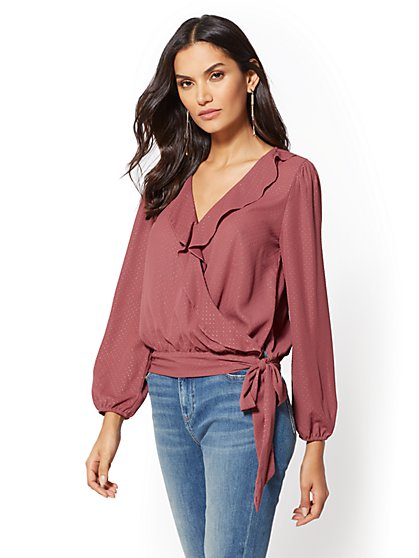 Glitter-Dot Ruffled Blouse - New York & Company