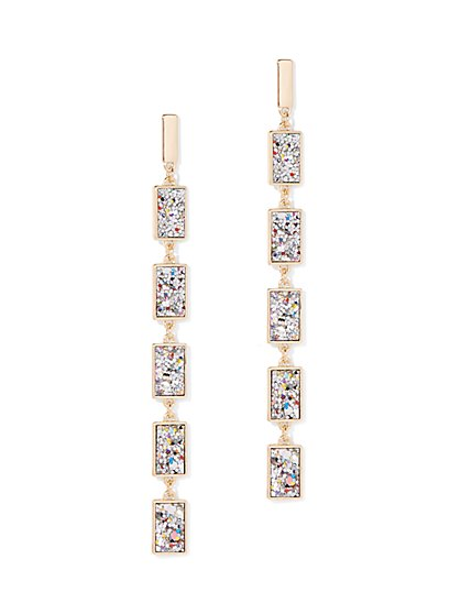 Glitter-Finish Linear Drop Earring - New York & Company