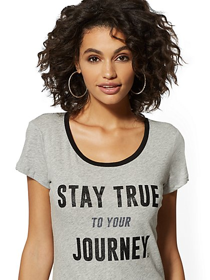 "Glitter-Finish ""Stay True to Your Journey"" Graphic Logo Tee - New York & Company"
