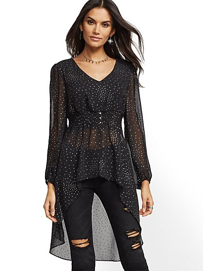 Glitter-Finish V-Neck Hi-Lo Blouse - New York & Company