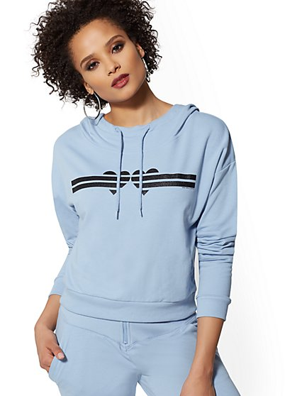 Glitter Stripe Hooded Sweatshirt - Soho Street - New York & Company