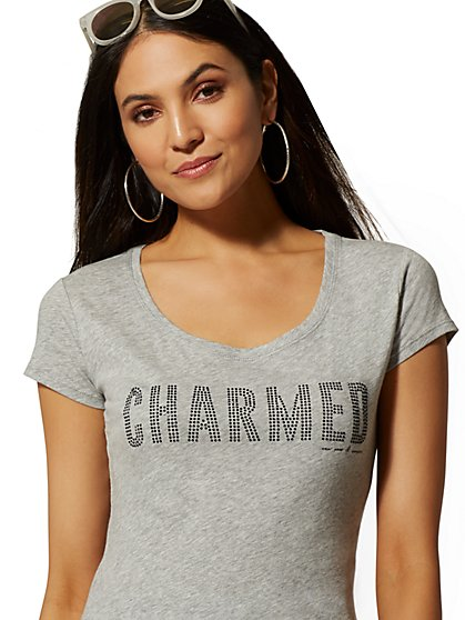 "Glittering ""Charmed"" Graphic Logo Tee - New York & Company"