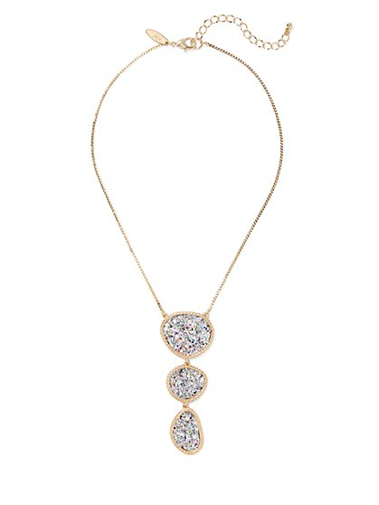 Glittering Goldtone Pendant Necklace - New York & Company