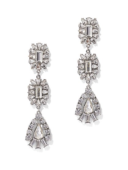 Glittering Silvertone Statement Drop Earring - New York & Company