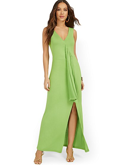 Goddess Frill-Front Maxi Dress - New York & Company
