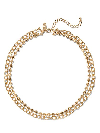 Gold Chain-Link Necklace - New York & Company