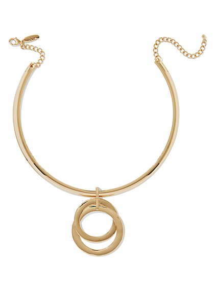 Gold Double-Ring Choker Necklace - New York & Company