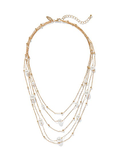 Gold Layered Pearl Necklace - New York & Company