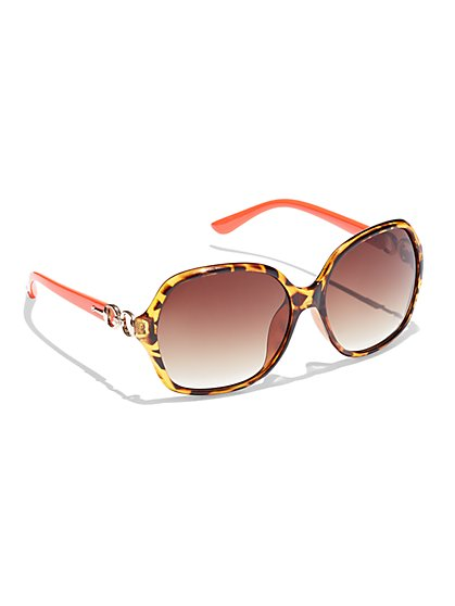 Gold-Link Tortoise Sunglasses - New York & Company