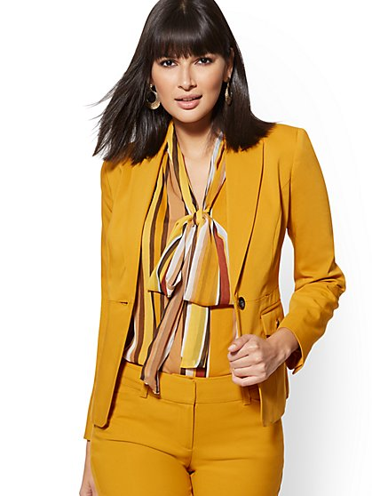 Gold One-Button Jacket - All-Season Stretch - 7th Avenue - New York & Company
