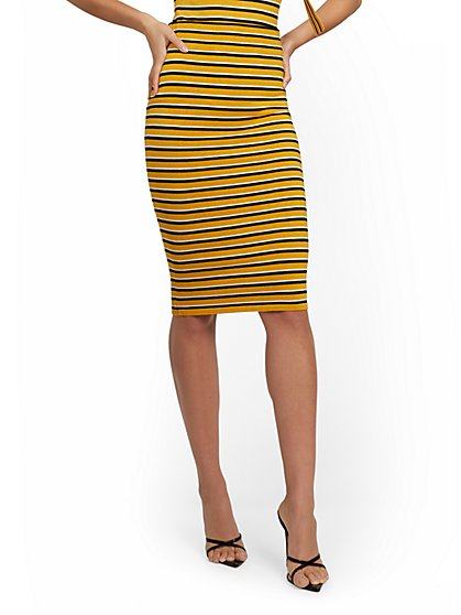 Gold Retro-Stripe Pencil Skirt - New York & Company