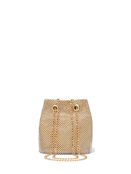 Gold Rhinestone Crossbody Bag - New York & Company