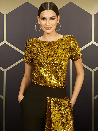 Gold Sequin Tee - 7th Avenue - New York & Company