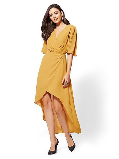 Gold V-Neck Wrap Midi Dress - New York & Company