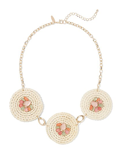 Goldtone 3-Disk Statement Necklace - New York & Company