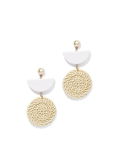 Goldtone Basket-Weave Drop Earring - New York & Company