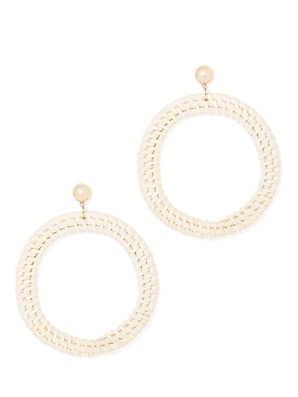Goldtone Basket-Weave Hoop Drop Earring - New York & Company