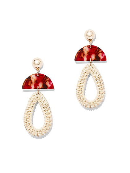 Goldtone Basket-Weave Teardrop Earring - New York & Company