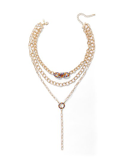 Goldtone Beaded Chain-Link Necklace - New York & Company