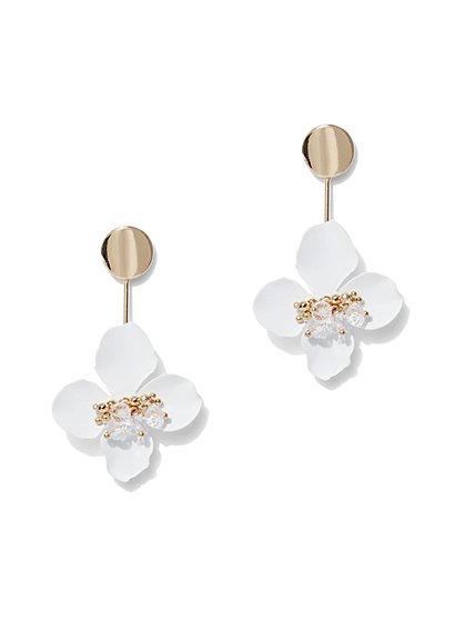 Goldtone Beaded Floral Drop Earring - New York & Company