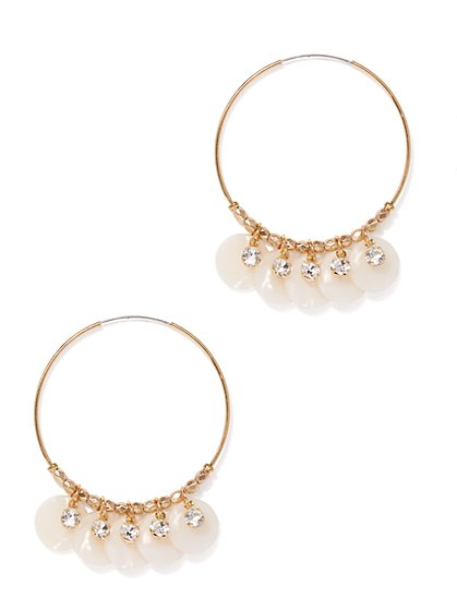 Goldtone Beaded Hoop Drop Earring - New York & Company