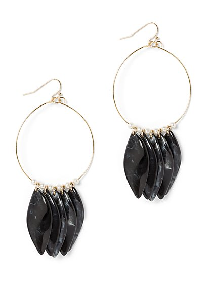 Goldtone & Beaded Hoop Drop Earring - New York & Company