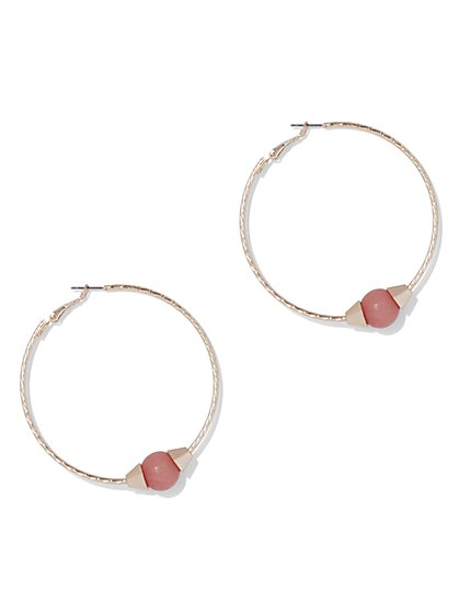 Goldtone Beaded Hoop Earring - New York & Company