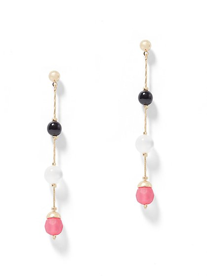 Goldtone Beaded Illusion Earring - New York & Company