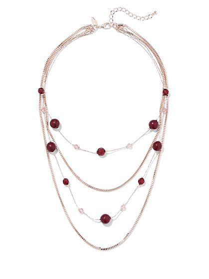 Goldtone Beaded Illusion Necklace - New York & Company