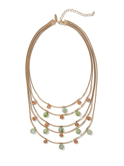 Goldtone Beaded Layered Statement Necklace - New York & Company