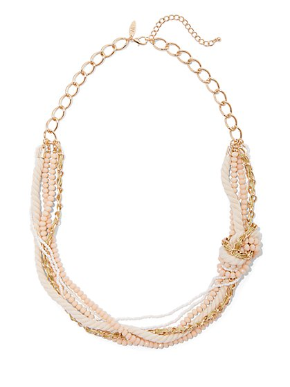 Goldtone Beaded Link Necklace - New York & Company