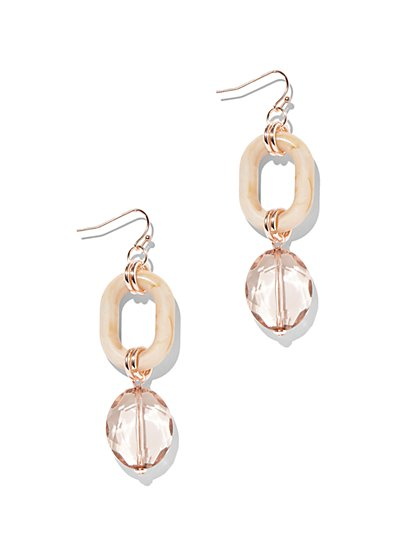 Goldtone Beaded Oval Drop Earring - New York & Company