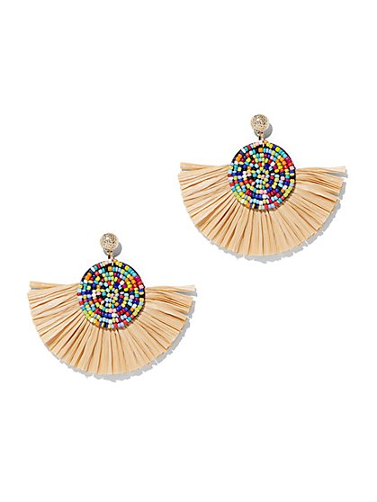 Goldtone Beaded Tassel Drop Earring - New York & Company
