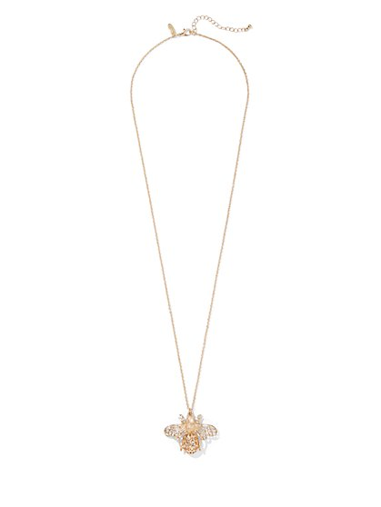 Goldtone Bee Pendant Necklace - New York & Company